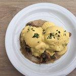 Delicious Eggs Benedict with creamy mushrooms