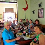 Our travel group having lunch in Leon.
