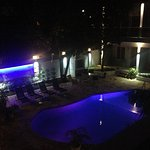 View of the pool from our back balcony, at 6am, before sunrise.