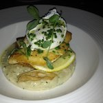 Halibut & risotto - fish was overcooked & chewy, not enjoyable