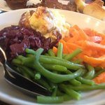 the veggies with the sunday dinner- Loved the cauli cheese and red cabbage -yummm