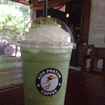 Matcha Green Tea Frappe 90THB, 100% Matcha Imported from Japan.