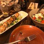 Chicken Soulvaki and Greek Salad