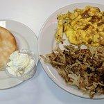 Cheddar Scrambled Eggs & Biscuit