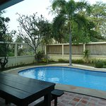 Private pool, large picnic table on ground floor of villa