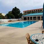 VERY nice heated pool.  Clean and comfortable water temp