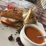 Chicken Caprese Sandwich & Tomatoe Asparagus Soup