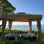private cabana on the edge of the beach.