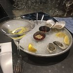 Lemon martini and oysters