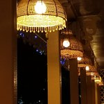 Beautiful lanterns on the open air patio seating.