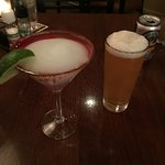 Margarita with pear purée and an IPA