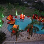 Pool area from balcony. Decoration on valentine day