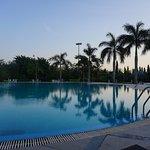 beautiful sunset at pool area