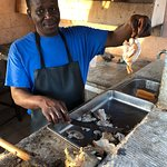 Snapper showing us how conch is prepared