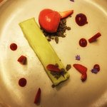 Cheesecake with strawberry sorbet and sesame crunch....unusual but delicious!