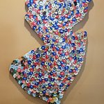 State of New Jersey art made out of beer caps
