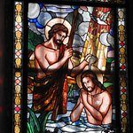 Christ's baptism in stained glass