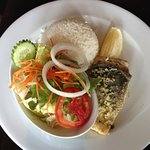 Sea Bass Fillet with rice and salad