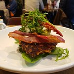 Corn fritters with bacon and avocado