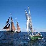 Anna R and Angelique sailing into Rockland Harbor