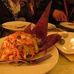 Banana blossom salad with shrimps and roasted pork
