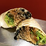 Grilled pork carnitas burrito