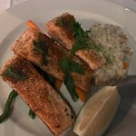 Overcooked trout with risotto and vegetables