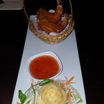 Starter: Butterfly kind prawns in breadcrumbs with sweet chili dip.