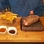 Main: 12oz Sirloin steak with chips and dips.