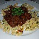Goulash with fresh pasta