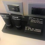Cute phrases on the room amenities