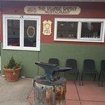 The front door of the Village Smithy Restaurant