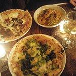"""""""green pie"""" pizza, prosciutto pizza, and lobster fettuccine"""