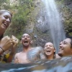 Friends and good fun at Uluwehi Falls on the Wailua Kayak Adventure with Outfitters Kauai.