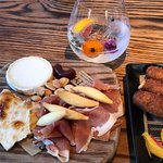 cheese & meat platter, and croquetas