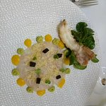 carpaccio poisson, mangue et avocat