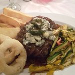 Steak with blue cheese and fig