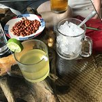 Roasted salted peanuts with drinks