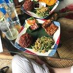corn fritters and grilled mahi mahi