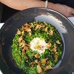 Aged Acquerello risotto, spinach, cavolo nero, Vannella stracciatella, pine nuts