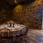 The dining table awaits in the Highfield Historic Site threshing barn.