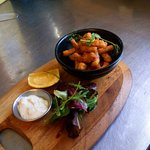 New starter Salt and pepper squid with garlic mayo