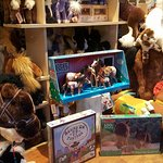 The charmingly equine toy display in one of the gift shop windows.