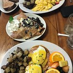 eggs benedict, basic breakfast and cookies and cream crepe