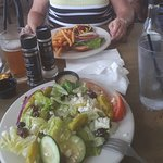 Greek salad and burger