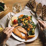 What about salmon steak and glass of wine for a dinner?