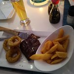 Steak - which apparently was delicious with onion rings and chips