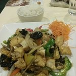 Ginger Flavor. Mixed vegetables with two types of mushrooms, baby corn, red and green bell peppe