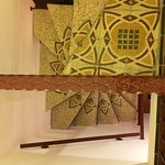 Fabulous tile pattern on spiral staircase to breakfast room