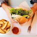 vegan burger with roasted potatoes